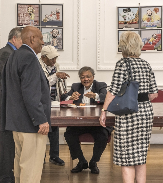 Mihir signing his book Silver, the spy who fooled the Nazis at The Nehru Centre, 5 September 2017. Photo courtesy of photobecket