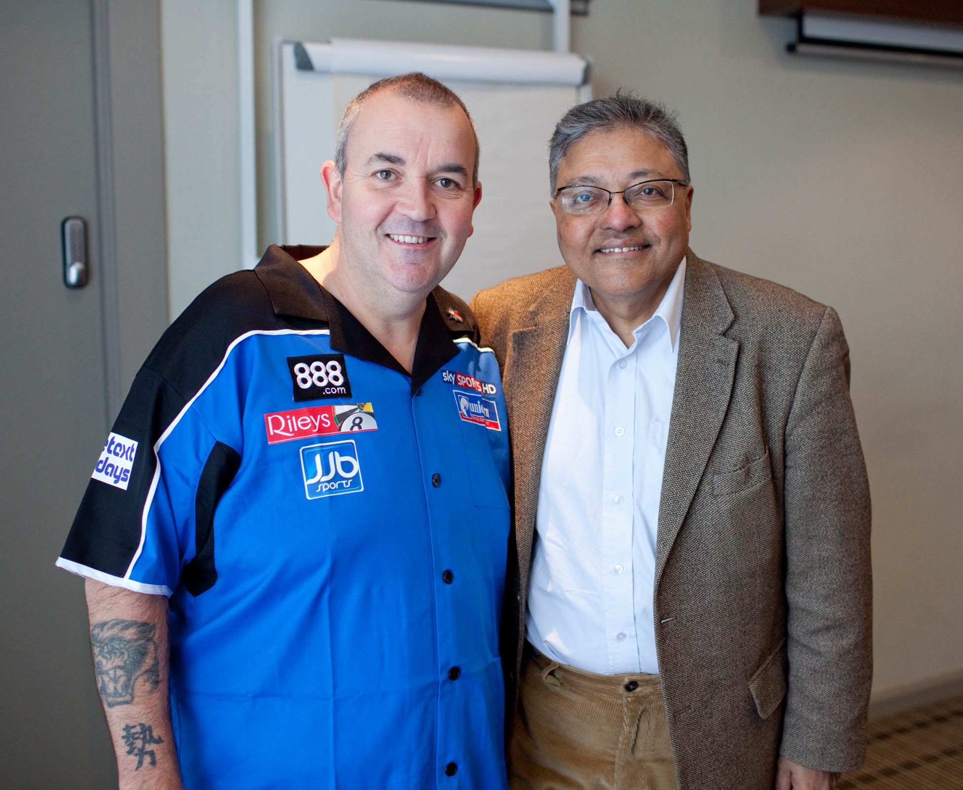Mihir with Phil Taylor