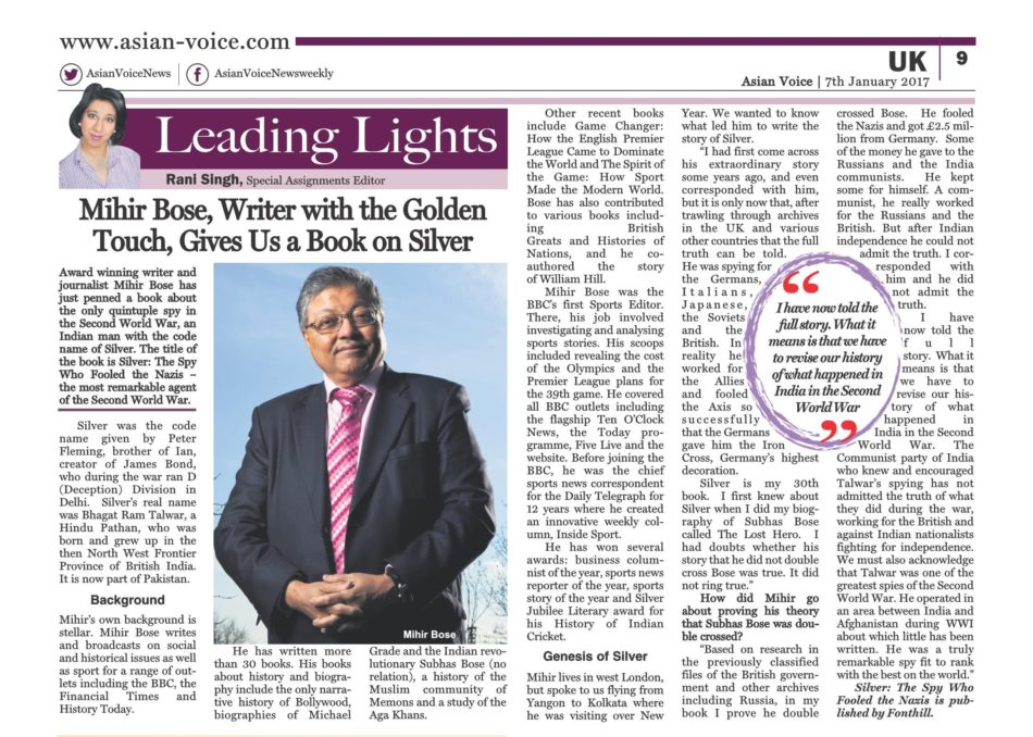 Review of Mihir's book Silver by Asian Voice